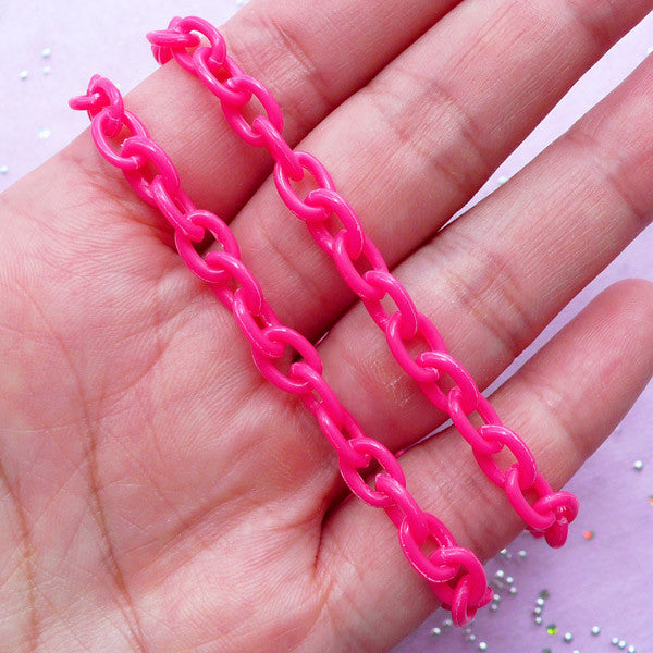 Color Plastic Chain in 6mm | Kawaii Necklace & Bracelet Making (Dark Pink / 2pcs x 38cm)