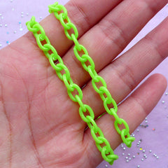 Kawaii Plastic Chain in 6mm | Whimsical Jewellery & Accessory Making (Apple Green / 2pcs x 38cm)