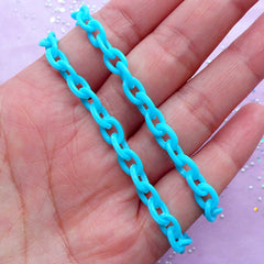 Cute Plastic Chain in 6mm | Kawaii Fairy Kei Necklace & Bracelet Making (Pastel Blue / 2pcs x 38cm)