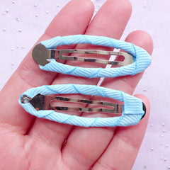 Baby Snap Clip Blanks | Kawaii Hair Clip with Grosgrain Ribbon | Infact Jewelry Making (Sky Blue / 5 pcs / 17mm x 49mm)
