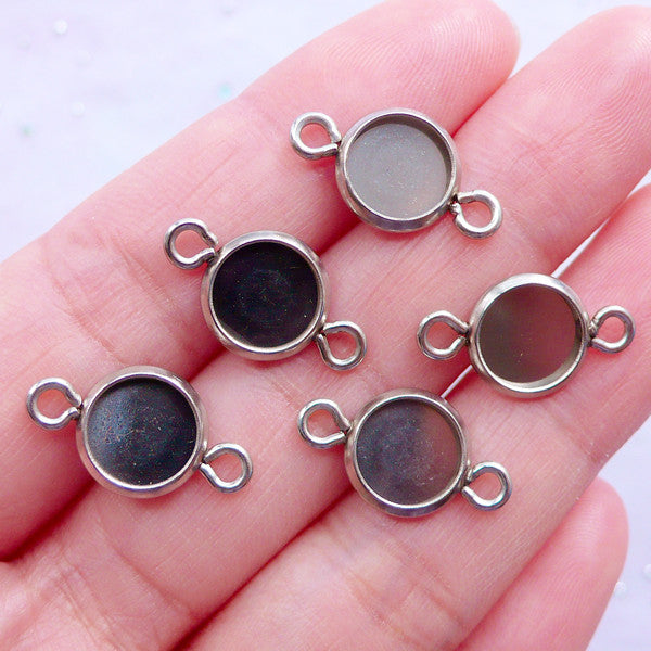 8mm Bezel Connectors | Stainless Steel Bezel Links | Round Cabochon Setting | Circle Bezel Trays with 2 Loops | Bezel Cup with Two Loops (5 pcs / Silver / 10mm x 18mm)