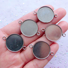 18mm Cameo Setting | Stainless Steel Circle Bezel Connectors | Round Cabochon Bezel Setting with 2 Loops | Silver Bezel Tray Links | Bezel Cup Blanks with Two Loops (5 pcs / 20mm x 27mm)