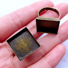 16mm Square Ring Base with Bezel Setting | Adjustable Ring Blanks with Square Bezel Cup | Jewelry Findings (2 pcs / Antique Bronze)