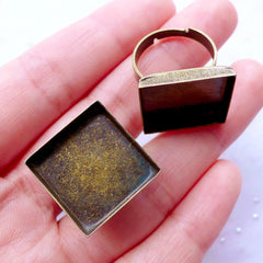 18mm Ring Blanks with Square Bezel Setting | Adjustable Ring Base with Square Bezel Cup | Jewelry Bezel Supplies (2 pcs / Antique Bronze)