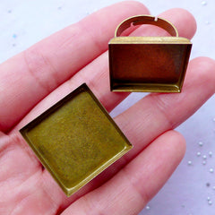 20mm Square Ring Blanks with Bezel Tray | Adjustable Ring Base with Square Bezel Setting | Bezel Jewellery Supplies (2 pcs / Bronze)