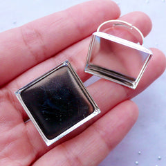 20mm Ring Base with Square Bezel Cup | Adjustable Ring Blank with Square Bezel Setting | Bezel Jewelry Supplies (2 pcs / Silver)