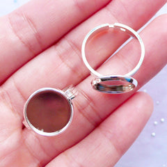 12mm Silver Ring Base with Round Bezel Tray | Adjustable Ring Blanks with Round Bezel Setting | Cameo Bezels | Cabochon Bases (2 pcs)
