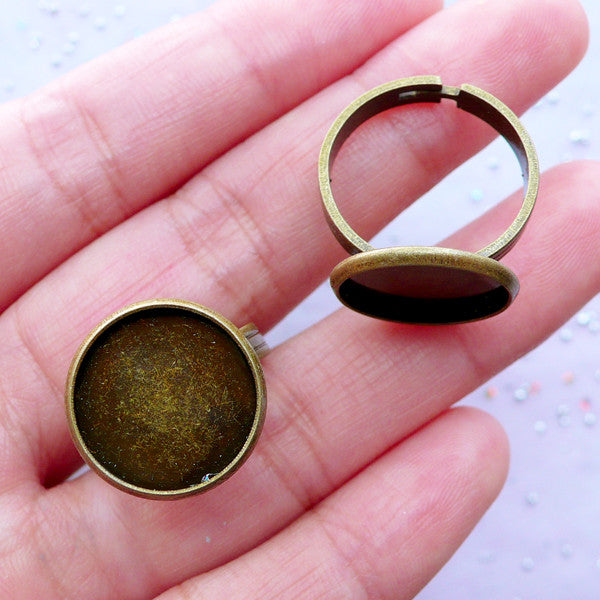 14mm Bezel Ring Base with Round Bezel Cup | Adjustable Ring Blank with Round Bezel Tray | Cameo Setting | Cabochon Bezels (2 pcs / Antique Bronze)