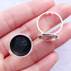 14mm Bezel Ring Setting with Round Cabochon Bezel Cups | Adjustable Ring Base with Round Cameo Bezel Setting | Blank Bezel Supplies (2 pcs / Silver)
