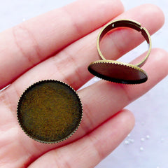 20mm Bezel Ring Blanks with Round Cameo Bezel Cups | Adjustable Bezel Ring Setting with Round Cabochon Bezel Tray | Ring Findings (2 pcs / Antique Bronze)