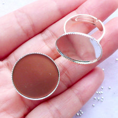 20mm Adjustable Bezel Ring Blanks with Round Bezel Tray | Silver Bezel Ring Setting with Round Bezel Cup | Round Cameo Bases | Round Cabochon Setting (2 pcs)