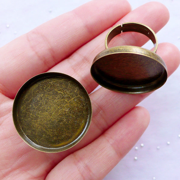 25mm Adjustable Bezel Ring Setting | Round Bezel Ring Blanks | Cameo Bezel Setting | Jewelry Mountings (2 pcs / Antique Bronze)
