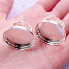 25mm Round Bezel Ring Blanks | Silver Adjustable Bezel Ring | Ring Bases with Cabochon Bezel Cups | Jewelry Settings (2 pcs)
