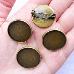 20mm Brooch Bezel Blank | Brooch Pin Back with Round Bezel Setting | Brooch Base with Bezel Cups | Jewellery Settings (4 pcs / Antique Bronze)