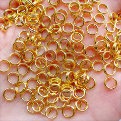 Double Loops Jump Rings | Double Split Rings | Gold Splitring in 5mm | Jewelry Findings Supplies (100pcs / 21 Gauge / Gold)