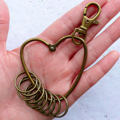 Swivel Trigger Hook with Split Key Rings | Heart Key Chain & Keyring Findings | Bag Charm DIY | Zakka Jewellery Making Supplies (1 piece / Antique Bronze / 60mm x 96mm)