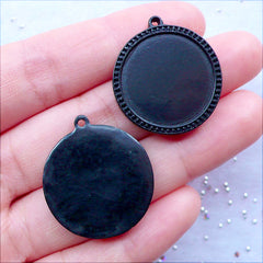 Black Bezel Settings | Round Resin Cabochon Holders | 20mm Cameo Bases | Plastic Pendant Trays | Kitsch Jewelry DIY | Kawaii Craft Supplies (4pcs / Black)