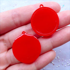 Plastic Bezel Settings | 20mm Cabochon Holders | Round Cameo Bases | Pendant Tray | Resin Bezel Charms | Kitsch Jewelry Making | Kawaii Supplies (4pcs / Red)