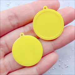 Round Cabochon Settings | 20mm Cameo Holder | Kawaii Bezel Tray | Resin Pendant Setting | Plastic Jewellery Making | Resin Findings Supplies (4pcs / Yellow)