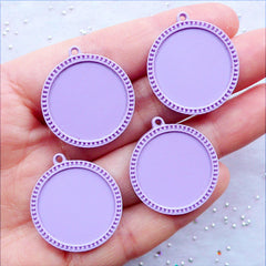 Round Cameo Settings | 20mm Cabochon Holder | Plastic Bezel Tray | Kawaii Pendant Setting | Resin Jewellery Making | Kawaii Findings Supplies (4pcs / Purple)