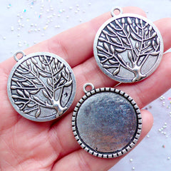 Tree of Life Bezel Charms | Round Bezel Pendant | Silver Bezel Tray | 25mm Cameo Base | Cabochon Setting | Photo Memory Jewelry | Jewellery Mounting Supplies (3pcs / Tibetan Silver / 28mm x 32mm)
