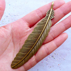 Bronze Bookmark Blank | Antique Feather Bookmark | Metal Bookmark Charm Hook | DIY Gift for Book Lovers | Jewelry for Writers | Reading Accessory Making (1 piece / Antique Bronze / 2.2cm x 10.7cm)