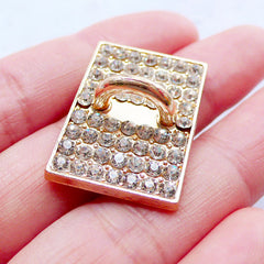 Phone Charm Holder | Luxury Phone Case Hook Cab | Phone Case Accessories | Charm Connector | Bling Bling Decoden Supplies | Sparkle Phone Embellishment (1 piece / Gold / 17mm x 19mm)