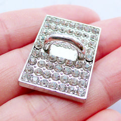 Phone Case Hook Cab | Phone Case Charm Connector | Sparkle Phone Case Accessories | Charm Holder | Luxury Decoden Supplies | Bling Bling Phone Embellishment (1 piece / Silver / 19mm x 27mm)