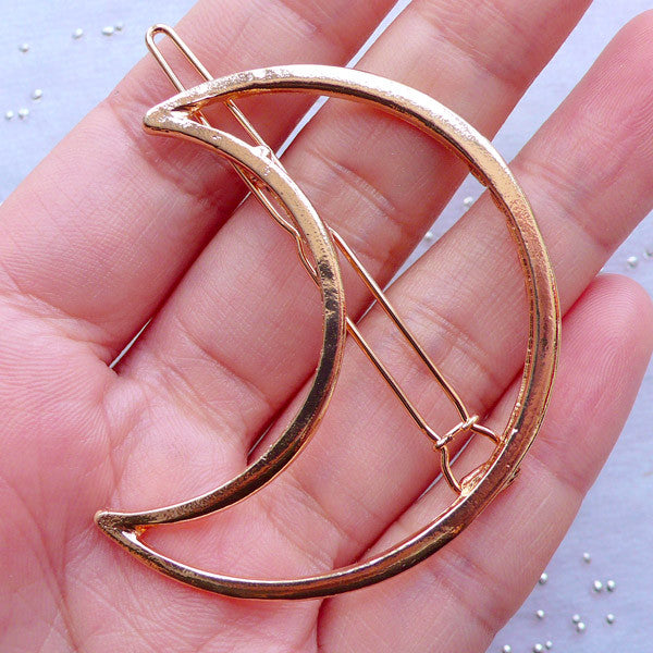 Crescent Moon Open Back Bezel Hair Clip for Magical Girl Jewelry Making | Hollow Bezel for UV Resin Craft | Deco Frame for Resin Filling | Kawaii Mahou Kei Jewellery (1 piece / Gold / 41mm x 52mm)