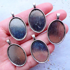 Oval Bezel Setting | Oval Cameo Holder | 18mm x 25mm Oval Cabochon Base | Bezel Tray for Collage Sheet | Memory Pendant DIY (5pcs / Tibetan Silver)