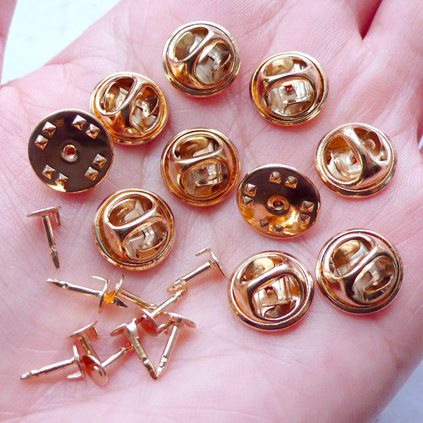 Tie Tack Blank Pins with 5mm Glue On Pad | Clutch Pin Back | Lapel Pin  Backs | Badge Pin Back | Brooch Pin Backs | Scatter Pin Findings (10 Sets /