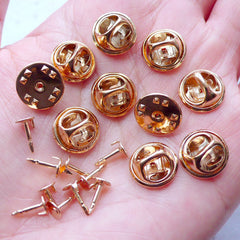 Tie Tack Blank Pins with 5mm Glue On Pad | Clutch Pin Back | Lapel Pin Backs | Badge Pin Back | Brooch Pin Backs | Scatter Pin Findings (10 Sets / Gold)