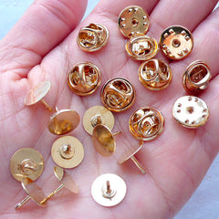 Gold Tie Tack Lapel Scatter Pin Backs with 10mm Glue On Pad | Brooch Pin Blanks | Clutch Pin Back Findings | Badge Pin Backs (10 Sets)