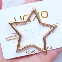 Star Open Bezel Hair Clip | Kawaii Deco Frame for UV Resin Jewelry Making | Japanese UV Resin Craft Supplies (1 piece / Gold / 54mm x 53mm)