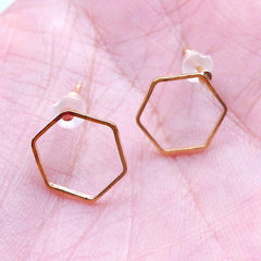 Hexagon Frame Stud Earrings | Geometric Open Deco Frame for Japan UV Resin Crafts | Kawaii Jewellery Supplies (1 Pair / Gold / 10mm x 11mm)
