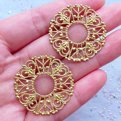 Round Metal Accent with Heart Pattern | Filigree Circle Disc Base | Cabochon Setting | Jewelry Findings (2pcs / Raw Brass / 30mm)