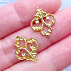 Filigree Floral Metal Accent | Small Cabochon Base | Jewellery Findings (6 pcs / Raw Brass / 13mm x 15mm)