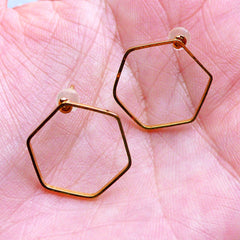 Hexagon Open Frame Stud Earrings | Geometry Deco Frame for Kawaii UV Resin Jewelry Making (1 Pair / Gold / 16mm x 18mm)