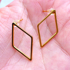 Rhombus Open Frame Stud Earrings | Kawaii Deco Frame for UV Resin Art | Geometry Jewelry Findings (1 Pair / Gold / 14mm x 23mm)