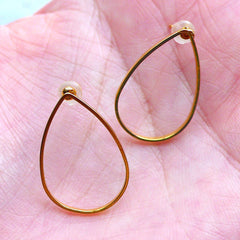 Teardrop Open Frame Stud Earrings | Tear Drop Deco Frame for Kawaii UV Resin Crafts | Geometry Jewellery Findings (1 Pair / Gold / 15mm x 21mm)