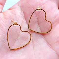 Heart Open Frame Stud Earrings | Heart Deco Frame for UV Resin Craft | Kawaii Jewelry Supplies (1 Pair / Gold / 21mm x 19mm)