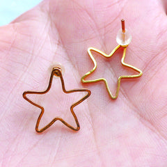 Star Open Frame Stud Earrings | Kawaii Deco Frame for UV Resin Filling | Kawaii Jewellery Supplies (1 Pair / Gold / 16mm x 16mm)