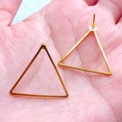 Triangle Open Frame Stud Earrings | Geometric Deco Frame for UV Resin Filling | Kawaii Jewelry Findings (1 Pair / Gold / 24mm x 21mm)