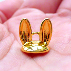 Bunny Ears Glue On Bead Cap with Loop | 11mm Pearl Cup in Rabbit Ear Shape | Kawaii Animal Shaped Cover for Glass Ball Jewellery | Bail Findings (1 piece / Gold)