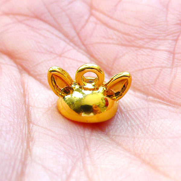 Mini Animal Ears Bead Cap with Loop | Small Pearl Cup | Glue On Bail for Glass Globe Bubble | Kawaii Craft Supplies (1 piece / Gold)