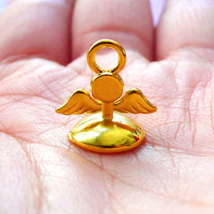 Angel Winged Bead Cap with Loop | Kawaii Pearl Cup | Glue On Bail Findings | Glass Globe Jewelry Supplies (1 piece / Gold)
