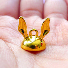 Rabbit Ears Bead Cap with Loop | Glue On Cover for Glass Globe Bubble | Pearl Cup | Kawaii Jewelry Supplies (1 piece / Gold)