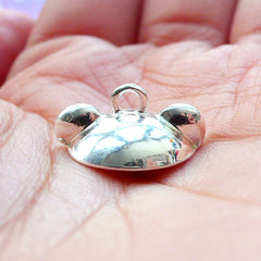 Bear Ears Bead Cap with Loop | Kawaii Bail for Glass Globe Jewellery Making | Glue On Pearl Cup (1 piece / Silver)