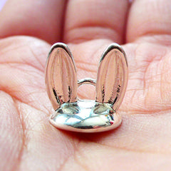 Kawaii Bead Cap with Loop | Rabbit Ears Cover for Glass Globe Jewellery DIY | Pearl Cup in Animal Shape (1 piece / Silver)