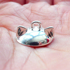Kitty Ears Bead Cap with Loop | Animal Shaped Pearl Cup | Glass Globe Cover | Kawaii Bail Supplies (1 piece / Silver)